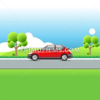 Red car on a country road. Green meadows hills and trees. Blue sky with clouds. Sunny day landscape view. Digital vector illustration. - frimufilms.com