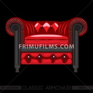 Red classic armchair over black background. Digital vector image - frimufilms.com