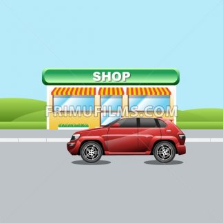 Red crossover on the road near a shop. A vehicle parked near a mini market. Suburban landscape view. Digital vector illustration. - frimufilms.com