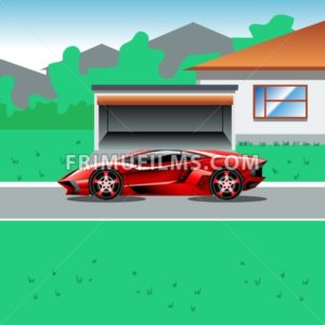 Red luxury sport car parked beside a house with a garage. Suburban house landscape view. Advertising campaign illustration for a sport car. Beautiful life flyer. Digital vector illustration. - frimufilms.com
