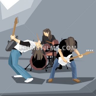 Rock music band performing on stage, with guitars and drums digital vector image - frimufilms.com
