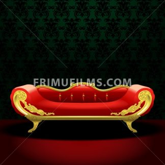 Royal red bed, flat style over green background. Digital vector image - frimufilms.com