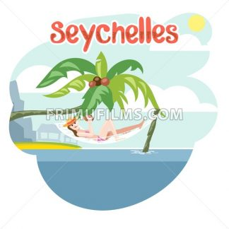 Seychelles flyer with a girl lying on a beach chair with hat - frimufilms.com