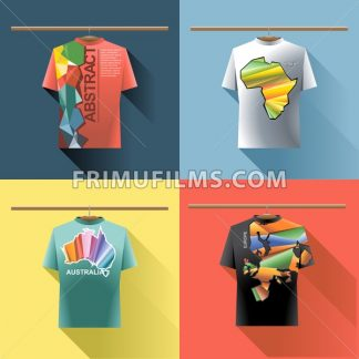 Shirt collection set with colored logo with triangles and text on hanger in wardrobe. Abstract, africa, australia and europe. Digital vector image - frimufilms.com