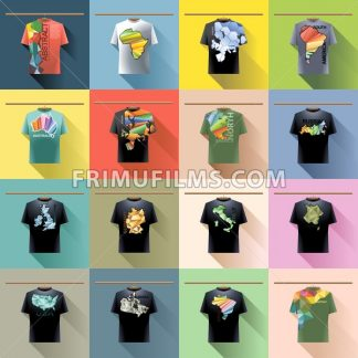 Shirt collection set with colored logo with triangles and text on hanger in wardrobe. Abstract, usa, brazil, canada, america, russia, italy, germany, france, ireland, great britain, europe, australia, africa. Digital vector image - frimufilms.com