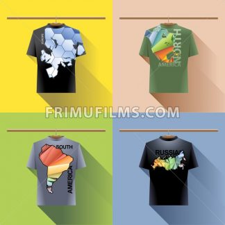 Shirt collection set with colored logo with triangles and text on hanger in wardrobe. Europe, north and south america, russia. Digital vector image - frimufilms.com