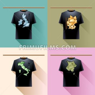 Shirt collection set with colored logo with triangles and text on hanger in wardrobe. Ireland and great britain, germany, italy and france. Digital vector image - frimufilms.com