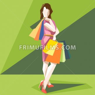 Shopping lady in a pink dress and red shoes, on a green sliced background, in big pixel style with bags, digital vector image - frimufilms.com
