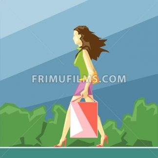 Shopping lady in green and pink clothes and red shoes, on a blue sliced background with trees, in big pixel style with bags, digital vector image - frimufilms.com