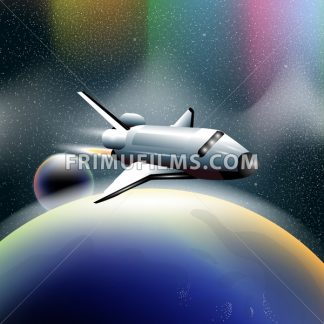 Shuttle in space flying from planet earth, orbiting a blue planet. Digital vector image. - frimufilms.com