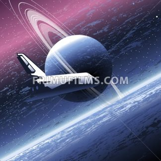 Shuttle in space orbiting a big planet with many rings. Digital vector image. - frimufilms.com