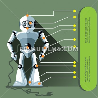 Silver humanoid robot displayed as an infographic with chip elements and a power outlet. Digital background vector illustration. - frimufilms.com