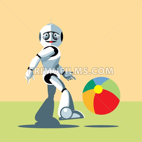 Silver humanoid robot playing with a colorful ball. Digital background vector illustration. - frimufilms.com