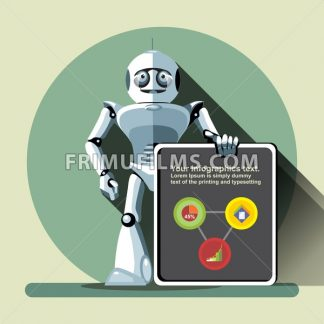 Silver humanoid robot presenting info graphic on a big display. Digital background vector illustration. - frimufilms.com