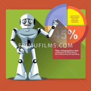 Silver humanoid robot presenting info graphic on a display. Digital background vector illustration. - frimufilms.com