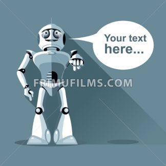 Silver humanoid robot presenting info graphic. Digital background vector illustration. - frimufilms.com