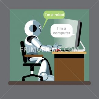 Silver humanoid robot sitting on a chair and working on a computer. Digital background vector illustration. - frimufilms.com