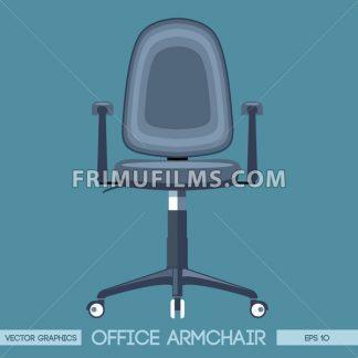 Silver modern office armchair over blue background. Digital vector image - frimufilms.com