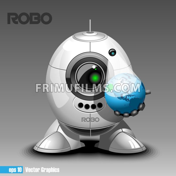 Silver robo eyeborg projecting the planet earth in 3d, holding in hand. Big green and black eye and antenna, two feet. Digital vector image. - frimufilms.com