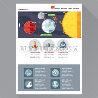 Space and cosmic exploration company web site theme layout. Digital background vector illustration. - frimufilms.com