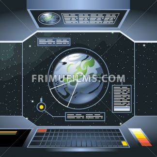 Spacecraft interior view and window to space and planet. Board with computers and screen with info analysis of the planet. Digital vector image. - frimufilms.com