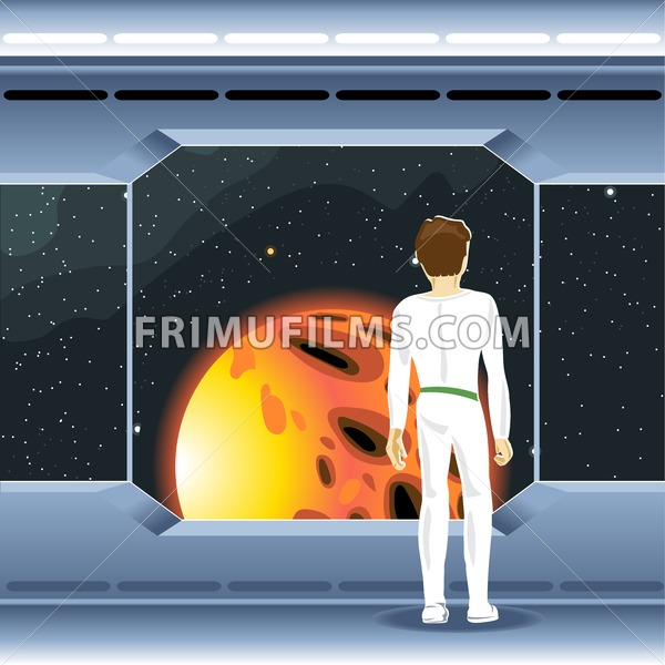 Spacecraft interior view and window to space and sun. Cosmonaut looking to another planet. Digital vector image. - frimufilms.com