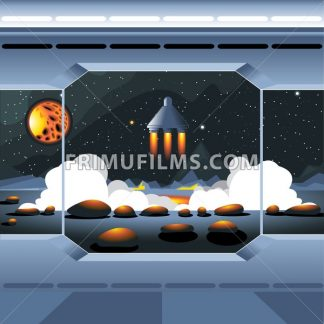Spacecraft interior view and window to space and sun. Spaceship launch from a planet with rocks. Digital vector image. - frimufilms.com
