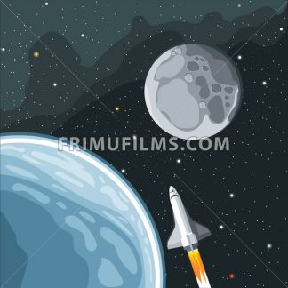 Spaceship mission to moon. Eart and moon view in space. Digital vector image. - frimufilms.com