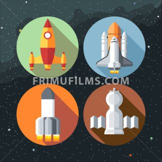 Spaceships icons collection with shuttles and rockets. Digital vector image. - frimufilms.com