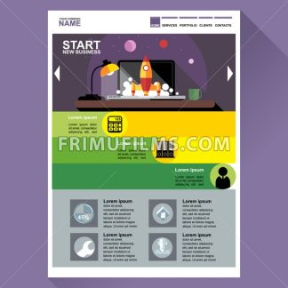 Start new business web site theme layout. Digital background vector illustration. - frimufilms.com