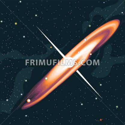 Supernova star explosion. View of the galaxy in space with stars and planets. Digital vector image. - frimufilms.com
