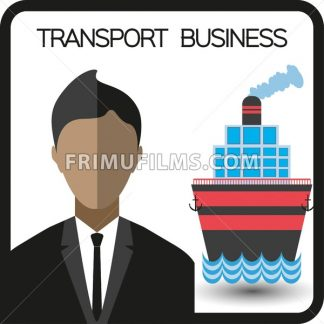 Transport business with a person and a ship, flat design. Digital vector image - frimufilms.com