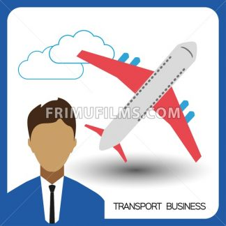 Transport business with a person and plane, flat design. Digital vector image - frimufilms.com