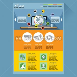 Travel agency web site theme layout. Digital background vector illustration. - frimufilms.com