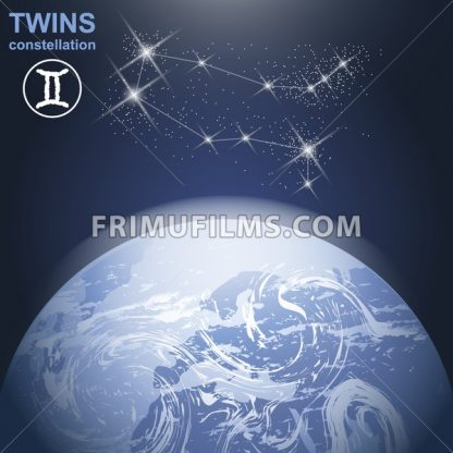 Twins constellation with stars and planet earth in 3d with light and atmosphere. Digital vector image - frimufilms.com