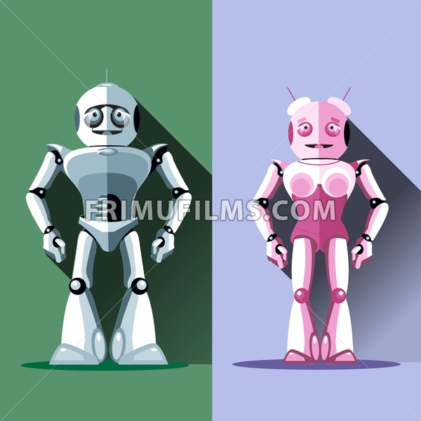 Two silver and pink humanoid robots, male and female. Digital background vector illustration - frimufilms.com