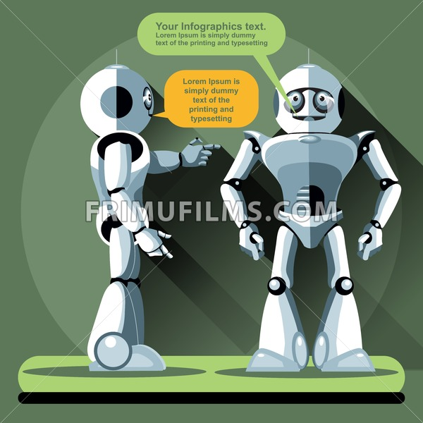Two silver humanoid robots chatting. Digital background vector illustration. - frimufilms.com