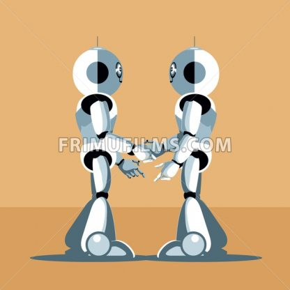 Two silver humanoid robots shaking hands. Digital background vector illustration. - frimufilms.com