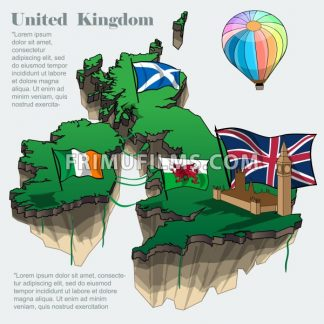 United kingdom country infographic map in 3d with country shape flying in the sky with clouds, big flags of ireland scotland and a colored flying balloon. Digital vector image - frimufilms.com