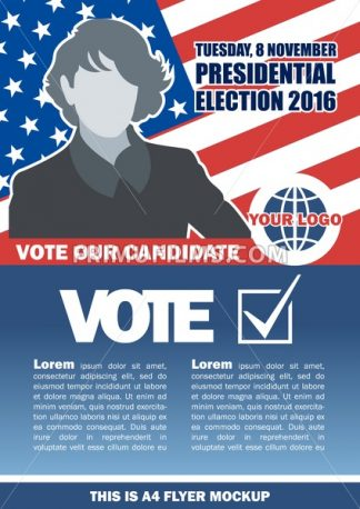 Usa 2016 election a4 flyer mockup with country map, vote checkbox and female candidate. Digital vector image - frimufilms.com
