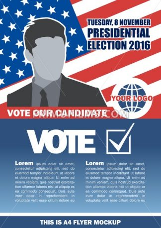 Usa 2016 election a4 flyer mockup with country map, vote checkbox and male candidate. Digital vector image - frimufilms.com