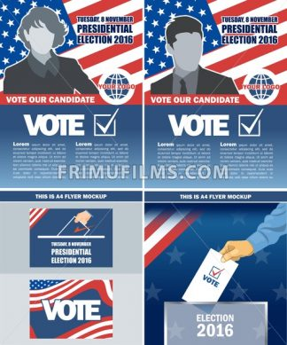 Usa 2016 election a4 flyer mockup with country map, vote checkbox, male and female candidate. Digital vector image - frimufilms.com