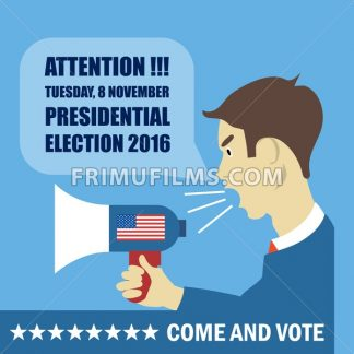 Usa 2016 election card with a character with megaphone giving details to come and vote. Digital vector image - frimufilms.com