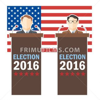 Usa 2016 election card with country flag and candidates character at the tribune. Digital vector image - frimufilms.com