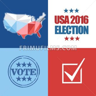 Usa 2016 election card with country map, vote stamp, and checkbox. Digital vector image - frimufilms.com