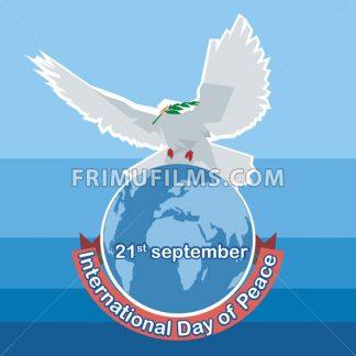 Vector International day of Peace. White dove with green branch on top of world map, over blue background. - frimufilms.com