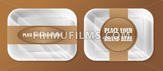 Vector empty white styrofoam plastic food tray container box mockup with ribbon ready for your design, over brown background - frimufilms.com