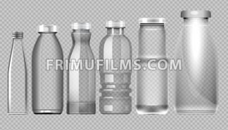 Vector set of transparent glass jar bottle for milk, juice and water mockup ready for your design - frimufilms.com