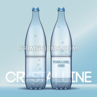 Vector set of transparent plastic blue liquid bottle with caps for mineral water mockup ready for your design - frimufilms.com