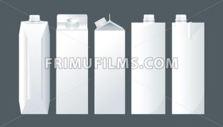Vector set of white carton beverage pack for milk, juice and water mockup ready for your design - frimufilms.com